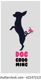 Logo for dog hair salon. Dog beauty salon logo. Pet grooming salon. Dog grooming