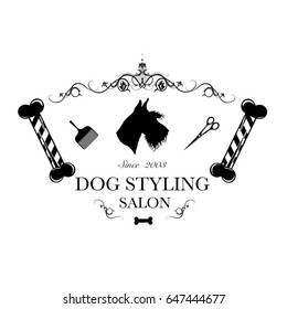 Logo for dog hair salon, styling and grooming shop, store for dogs