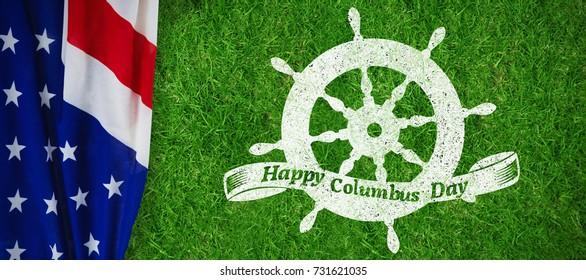 Logo for event american event colombus day  against closed up view of grass