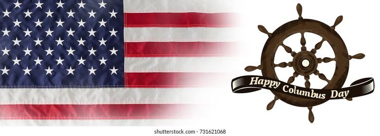Logo for event american event colombus day  against full frame of wrinkled american flag