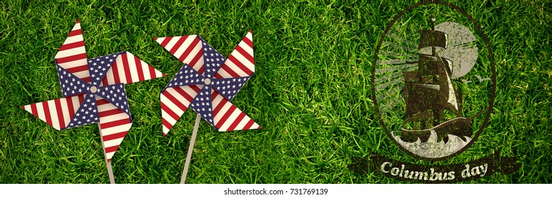 Logo for event american event colombus day  against full frame shot of grassy field