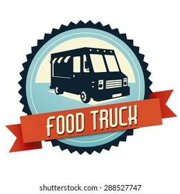 Logo of food truck, the logo have a retro look