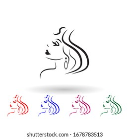 Logo of the girl for the beauty salon multi color icon. Simple glyph, flat of beauty salon icons for ui and ux, website or mobile application