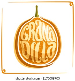 Logo for Granadilla Fruit, label with one passiflora for package of fresh juice or ice cream, price tag with original font for word granadilla inscribed in fruit shape, sticker for vegan store.