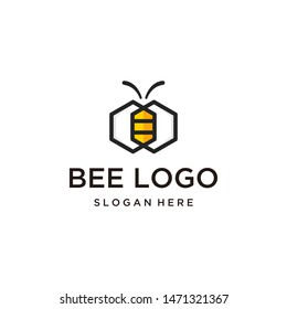 logo for hexagon shaped bees, simple icon for bee