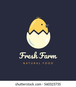 logo for home business with products from chicken meat and eggs. Poultry Farm illustration