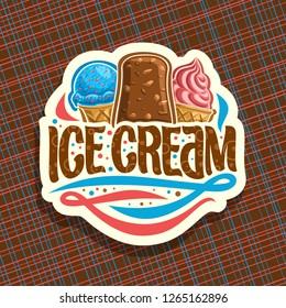 Logo of italian Ice Cream, cut paper sign with scoop ball sundae in wafer cap, eskimo pie in chocolate glaze, soft serve icecream in waffle cone, original brush typeface for words ice cream.