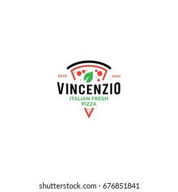 Logo for Italian pizzeria. Line style bright minimalistic pizza restaurant  symbol