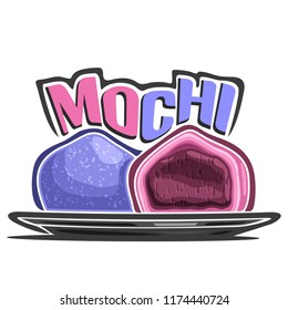 Logo for japanese dessert Mochi, illustration of asian confectionery for patisserie menu, poster with cut filling daifuku on plate and original font for word title mochi, oriental cuisine.