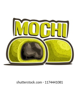 Logo for japanese dessert Mochi, illustration of asian green tea cakes for patisserie menu, poster with whole and cut filling daifuku and original font for word title mochi, oriental cuisine