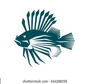 Logo lion fish. Illustration on white background