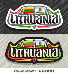 Logo for Lithuania country, fridge magnet with lithuanian flag, original brush typeface for word lithuania, national lithuanian symbol - Tower Of Gediminas in Vilnius on cloudy sky background.