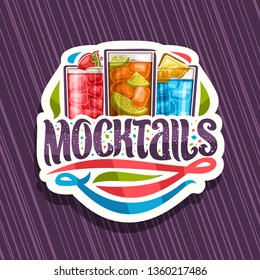 Logo for Mocktails, white label with 3 non alcoholic drinks, original lettering for word mocktails and flourishes, alcohol free soft cocktails with fresh fruits and berry for fun beach holiday.