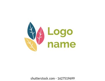 Logo name raster, isolated icon in flat style. Leaf and foliage symbol of ecology and nature, autumnal frondage. Design of logo for eco company. Emblem of company or business corporation