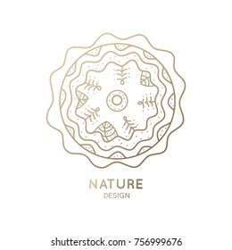 The logo of nature on white background. Linear icon of landscape in circle with trees, and river or snow. Business emblem, badge for a travel, farming and ecology concepts, health and yoga Center.