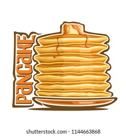 Logo for Pancake, original typography typeface for yellow word pancake, illustration of hotcakes for cafe menu, heap of homemade cakes on dish pouring of maple syrup & piece of butter up.