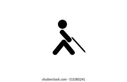 Logo of person incapacitated. Blind