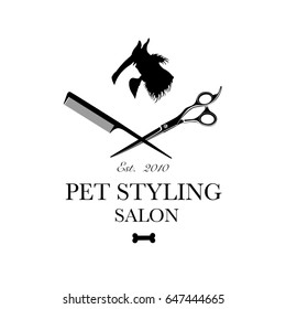 Logo for pet hair salon, styling and grooming shop, store for dogs and cats