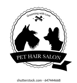 Logo for pet hair salon, pet styling and grooming shop, store for dogs and cats