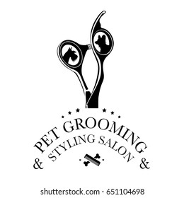 Logo for pet hair salon, styling and grooming shop, store for dogs