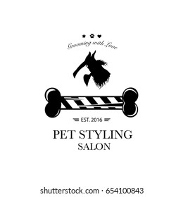 Logo for pet hair salon, pet styling and grooming shop, store for dog and cats