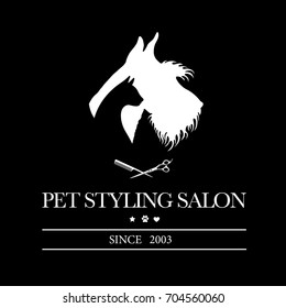 Logo for pet hair salon, styling and grooming shop, pet store for dogs and cats