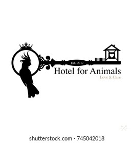 Logo for pet hotel. Royal hospitality and care for cats, dogs and other pets
