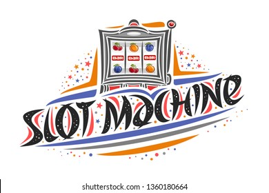 Logo for Slot Machine, creative illustration of reel of slot machine, original decorative brush lettering for word slot machine, simplistic abstract gambling banner with lines and dots on white