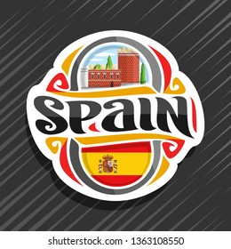 Logo for Spain country, fridge magnet with spanish flag, original brush typeface for word spain, spanish symbol - museum and theatre of Salvador Dali in Figueras on blue cloudy sky background.