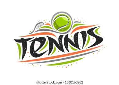 Logo for Tennis sport, creative contour illustration of hitting ball in goal, original decorative brush typeface for word tennis, simplistic cartoon sports banner with lines and dots on white.