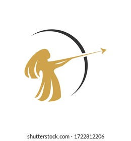 The logo of a woman or goddess wearing an archer