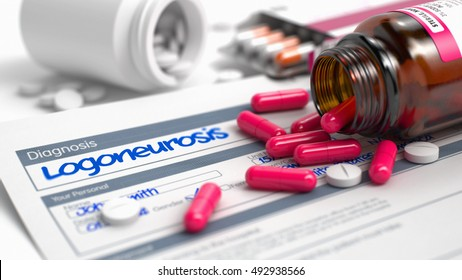 Logoneurosis Phrase in Anamnesis. CloseUp View of Medical Concept. Logoneurosis - Handwritten Diagnosis in the Disease Extract. Medical Concept with Red Pills, CloseUp View, Selective Focus. 3D.