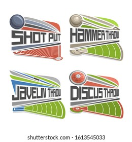 Logos for Athletics Fields, consisting of abstract discus throw, shot put, throwing hammer and javelin. Track and field athletics stadium, equipment for atletica championship.