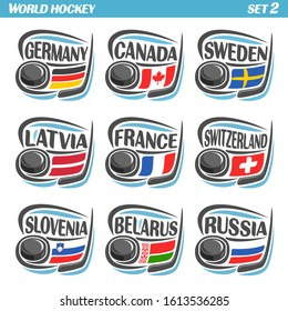 Logos set with flags of European Countries with Ice Hockey Puck.