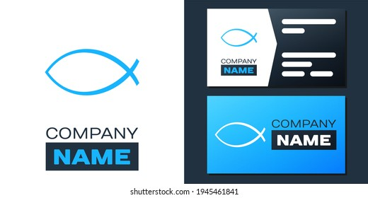 Logotype Christian fish symbol icon isolated on white background. Jesus fish symbol. Logo design template element.