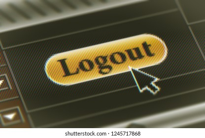 Logout button in the screen. 3D Illustration.