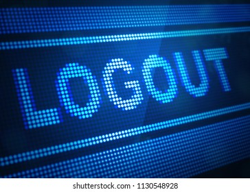 logout digital screen 3d illustration with blue colour