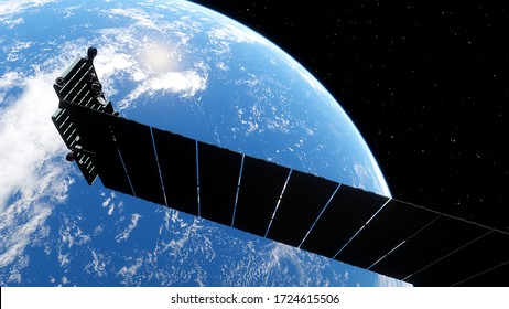 Logoysk, Minsk region / Belarus - April 12, 2020: Starlink - Near-Earth Satellite System Project, SpaceX Starlink satellite 3d render.