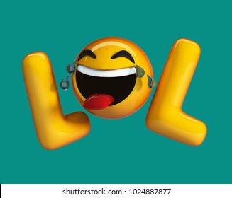 LOL emoji. Internet slang Acronym with Laughing Emoticon. 3d rendering isolated.