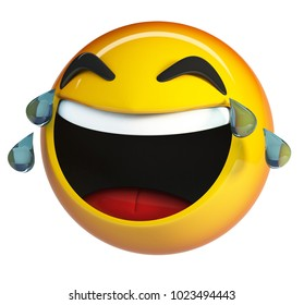 LoL Emoji. Laughing Face with tears of joy emoticon. 3d rendering isolated on white background