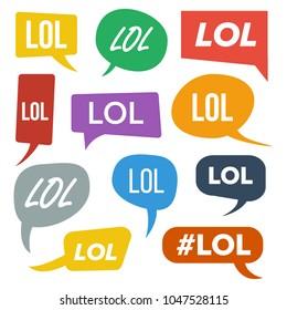 Lol Speech Bubbles. Fun Symbol. Emotion. Facial Expression. Expressions Lol Stickers. Teen Slang. Illustration