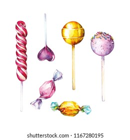 Lollipop candy illustration, watercolor painting, isolated on white background. Lollipops