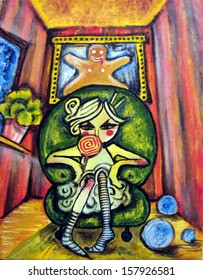 Lollipop Girl. Colorful abstract painting of a girl