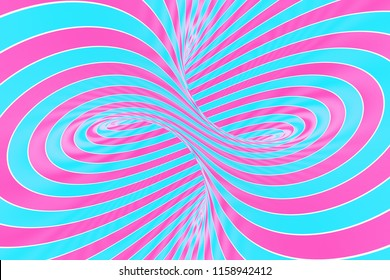 Lollipop torus visual 3D illusion raster illustration. Red and blue twisting loops ornament. Swirl, tube inside view. Psychedelic, hypnotic visual effect. Endless lines. Contrast stripes background