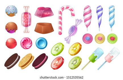 Lollipops and candies. Chocolate and toffee round sweets, caramel bonbon marshmallow and gummy. jellies candies realistic set on white background