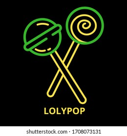 lolypop candy light green and yellow