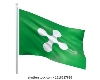 Lombardy (Region of Italy) flag waving on white background, close up, isolated. 3D render