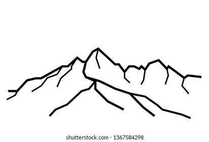 Lomnicky peak. Outline black and white illustration of mountains in Slovakia. Tatra Mountains, High Tatras, Carpathian Mountains. Print design