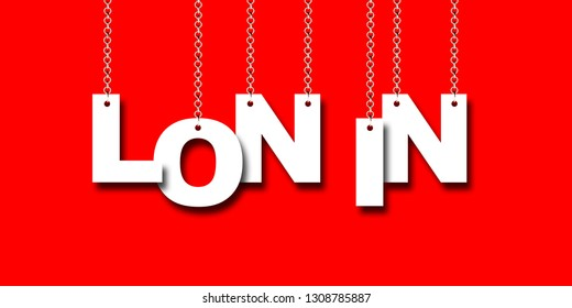 LON IN word hanging on Chain. 3d illustration