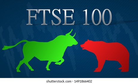London - AUG 2019: Illustration of standoff between the market's bulls and bears in the British stock market index FTSE 100. A green bull versus a red bear with a blue background and a typical chart.